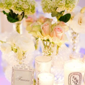 Roses and Hydrangea in vintage crystal vases